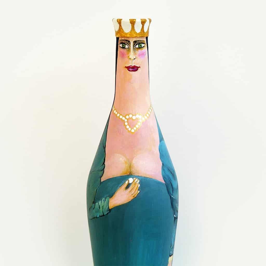 Bouteille peinte MUD - B12 reine&perles 05