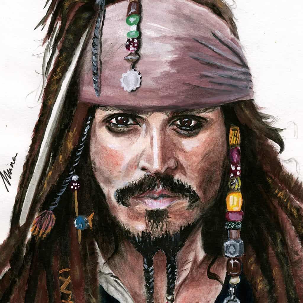 Peinture sur papier MINA – Johnny Depp