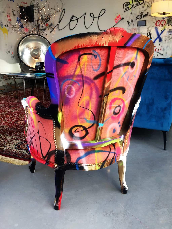 """Fauteuil customisé DONOMIQ rose dos """"Love Chair"""" 192"""