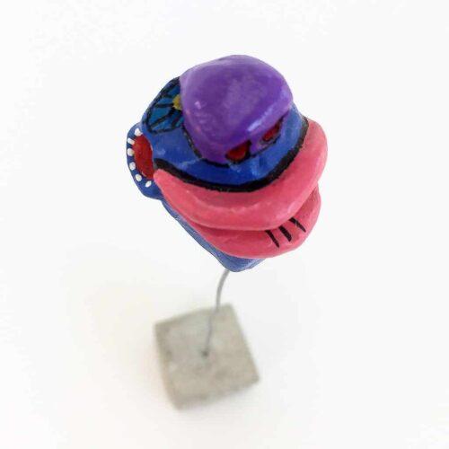 Tronche de Mud - t039 bleue bouche rose - 02
